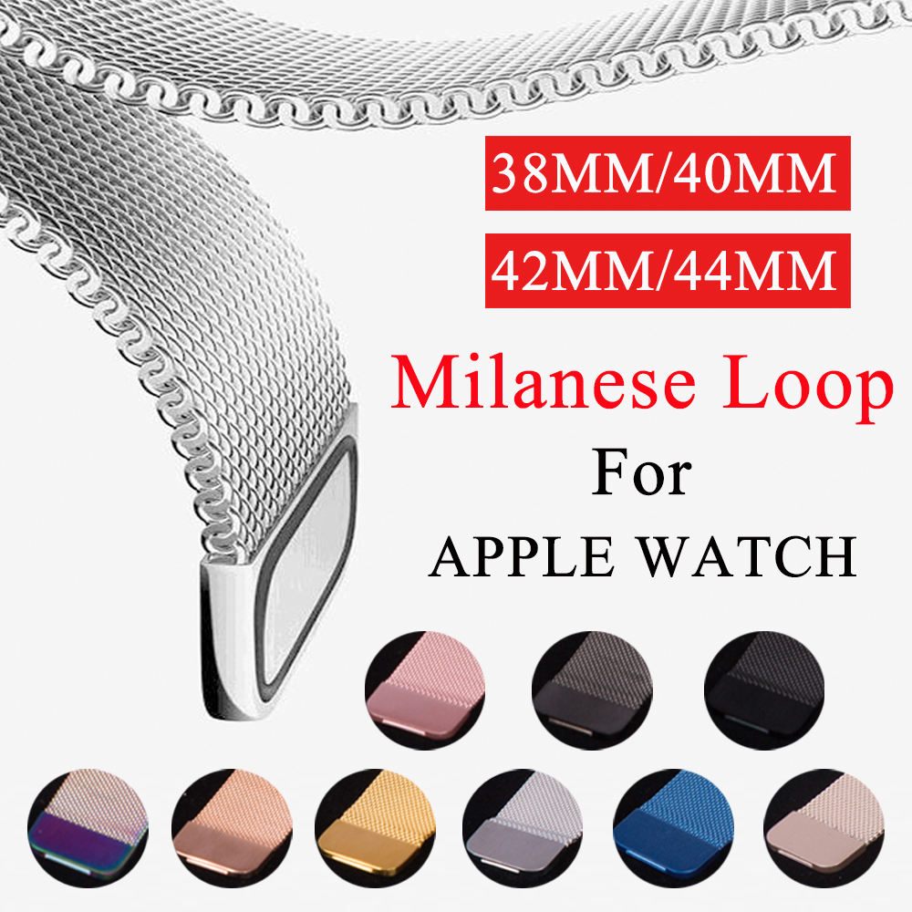 Milanese Loop Band For Apple Watch 38mm 42mm Stainless Steel 40mm 44mm Replacement Strap for iWatch series 4 3 2 1 Watchband in Watchbands from Watches