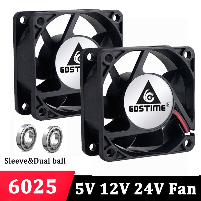 5 Pcs Gdstime 6cm <font><b>60mm</b></font> x 25mm Silent DC Brushless <font><b>5V</b></font> 12V 24V Cooling <font><b>Fan</b></font> PC Computer Case 6025 Motor Cooler 60x60mm 2 Pin image