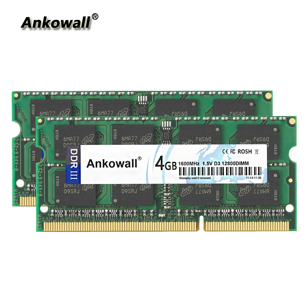 Ankowall <font><b>DDR3</b></font> 1600Mhz 8GB Kit (2 x <font><b>4GB</b></font>) <font><b>4GB</b></font> RAM <font><b>1600</b></font> MHz <font><b>SODIMM</b></font> Notebook Memory PC3-12800 Laptop RAM image