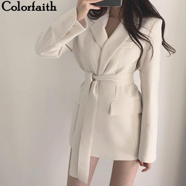 Colorfaith chaquetas con muescas para mujer, ropa de vestir Formal con cordones, Tops blancos y negros elegantes JK7040, Otoño Invierno 2019