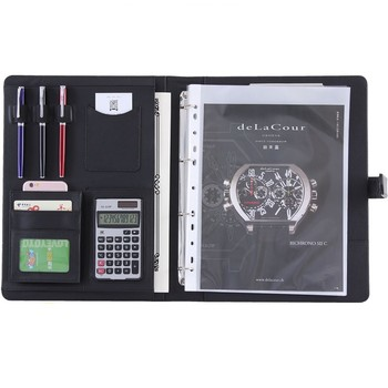 A4 Leather Folder Documents Binder Multi-function Calculator Pen Data Storage Bag Business Organizer Sturdy Office Manager Clip