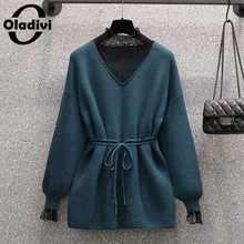 Oladivi размера плюс женский кружевной свитер из искусственного