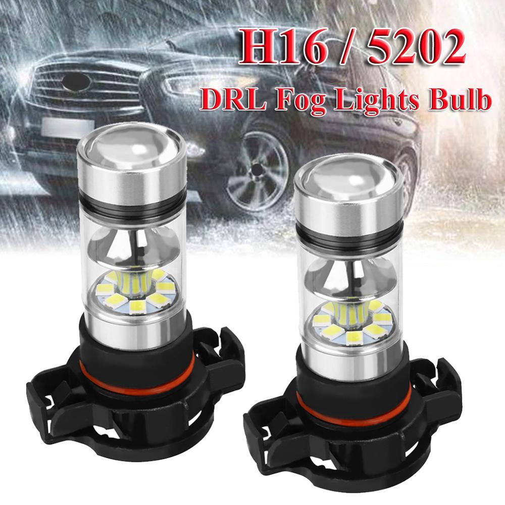 Светодиодный головной фонарь H16, 2 шт., 12 В, 100 Вт, 5202, высокая мощность, 6000 К