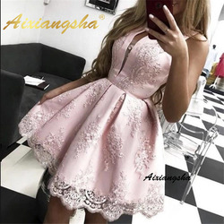 Aixangsha Vestidos Pink Homecoming Dresses A-Line Jewel Neck Sleeveless Lace Appliques Above Knee Special Occasion Gowns