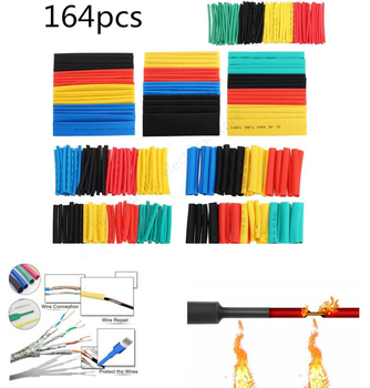164pcs Set Polyolefin Shrinking Assorted Heat Shrink Tube Wire Cable Insulated Sleeving Tubing