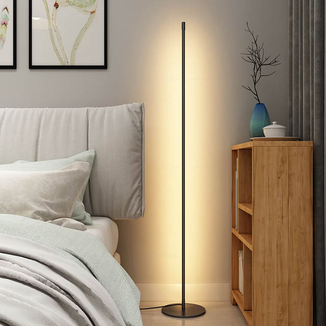 US $55.44 25% OFF|Nordic Floor lamp LED Strip Round Stick Floor Lights Post  modern Bedroom Art Decor Living Room Atmospheric Floor Lamp on AliExpress