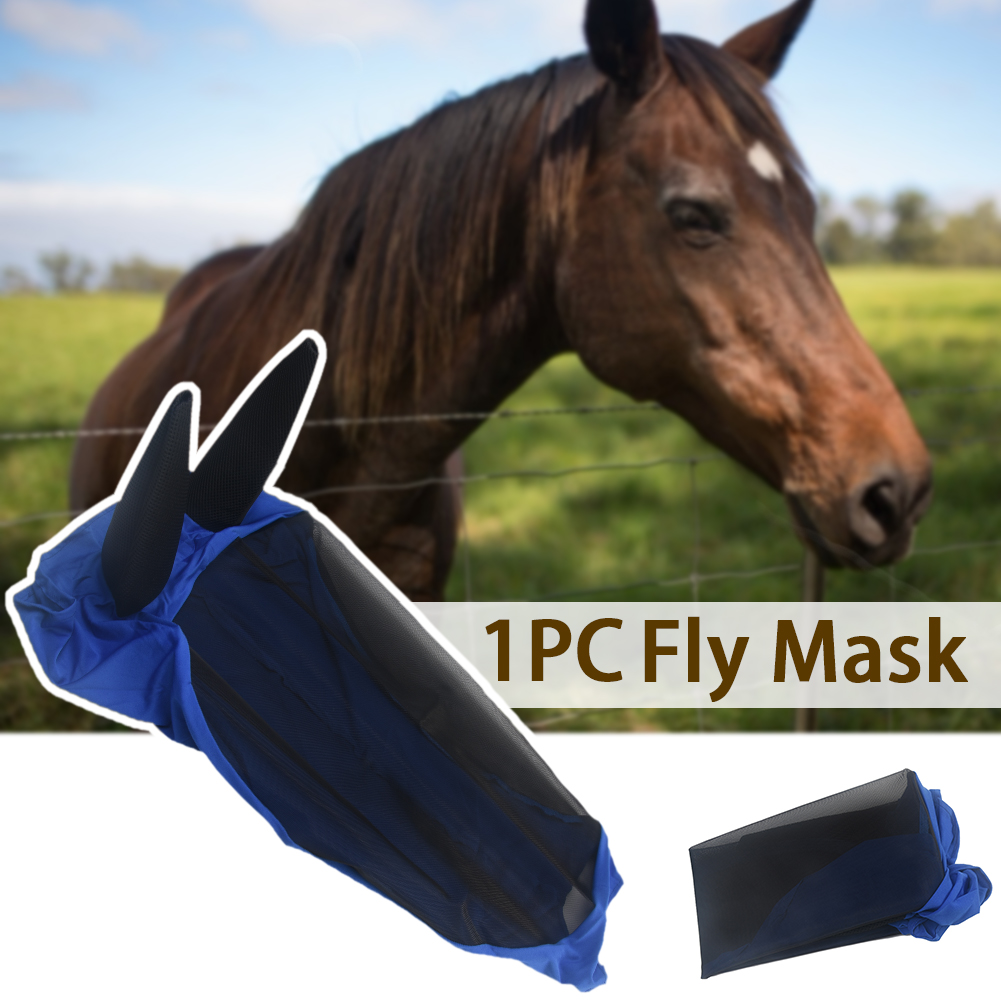 Full Face Pet Supplies Anti UV Ear Cover Blue Armour Summer Anti-mosquito Horse Protector Comfort Horse Fly Mask Breathable Mesh