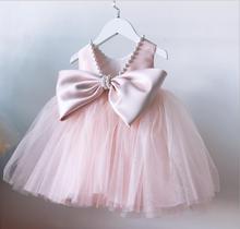 Летние розовые платья для крещения малышей, кружевное платье принцессы для маленьких девочек, платье на 1-й день рождения, праздничное плать...