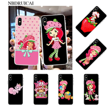 NBDRUICAI Strawberry Shortcake Custard Cover Black Soft Shell Phone Case for iPhone 11 pro XS MAX 8 7 6 6S Plus X 5S SE XR cover(China)