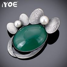 IYOE Cute Simulated Pearl Bow Brooches for Women Girls Gun Antique Natural Stone Brooch Pins Jewelry Scarf Dress Accessories(China)