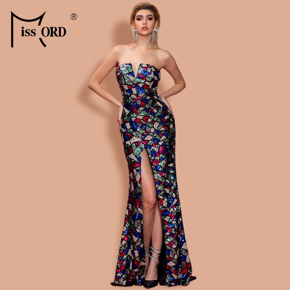 Missord 2020 Women Sexy  V Neck Off Shoulder Sequin Multi Dresses High Split Maxi Elegant Dress FT20131