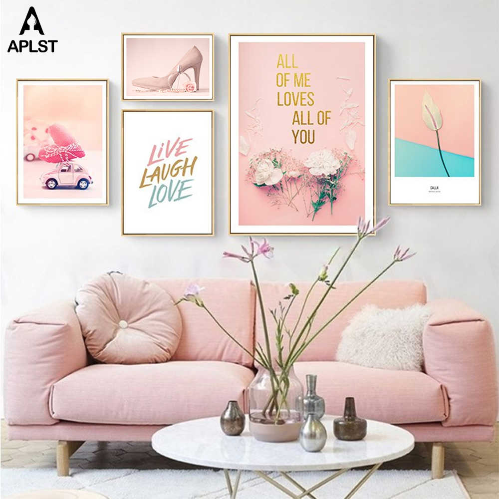 مارلين مونرو إقتباس إعطاء فتاة الحق الأحذية قماش اللوحة الوردي الزهور العطور يطبع و الملصقات غرفة المعيشة صورة ديكور