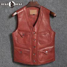 Harajuku Vintage Mens V Neck Echtem Leder Weste Jacke Cowboy Einzigen Berasted Sleeveless Weste Hohe Qualität Leder Westen