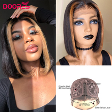 Wigs Human-Hair-Wigs Short Lace-Part Pre-Plucke Straight Women Bob for Ombre Remy Highlight