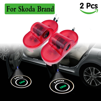 цена на For skoda logo emblem projector lights led car door light lighting courtesy ghost shadow welcome lamp for Skoda Octavia Octvia