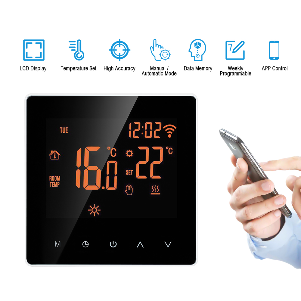 Wi-Fi Smart Thermostat Digital Temperature Controller APP Control LCD Touch Programmable Electric Floor Heating Thermostat