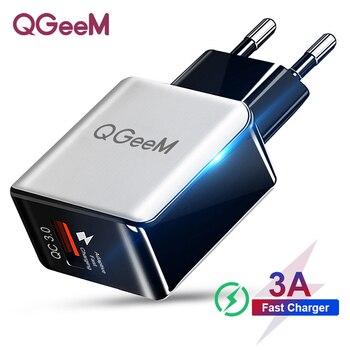 Cargador de fibra USB QGEEM QC 3,0 con carga rápida 3,0, Cargador rápido, adaptador de carga del teléfono portátil para iPhone xiaomi Mi9 EU US