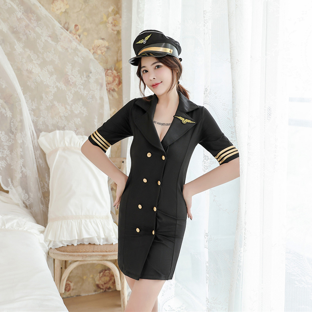 Flight Captain Cosplay Uniform Women Sexy Adult Female Pilot Costumes Party Nightclub Stewardess Dress Flight Attendant Uniform image