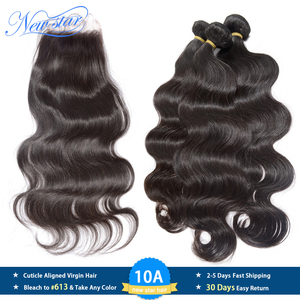 Image 1 - New Star Brazilian Virgin Hair Body Wave 3 Bundles With Lace Closure Raw Human Hair Cuticle Aligned 10A Hair Weaving And Closure