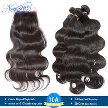 New StarบราซิลVirgin Hair Body Wave 3 รวมกลุ่มกับลูกไม้ปิดของมนุษย์Hair Cuticle Aligned 10Aทอผ้าและปิด