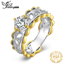 JewelryPalace Two Toned CZ Engagement Ring 925 Sterling Silver Rings for Women Anniversary Ring Wedding Rings Silver 925 Jewelry jewelrypalace vintage cz engagement ring 925 sterling silver rings for women anniversary ring wedding rings silver 925 jewelry