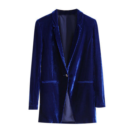 Spring 2020 New Atumn Ladies Blazers Office Blue Clothing European Velvet Retro Women Blazer And Jacket Outwear LX1407