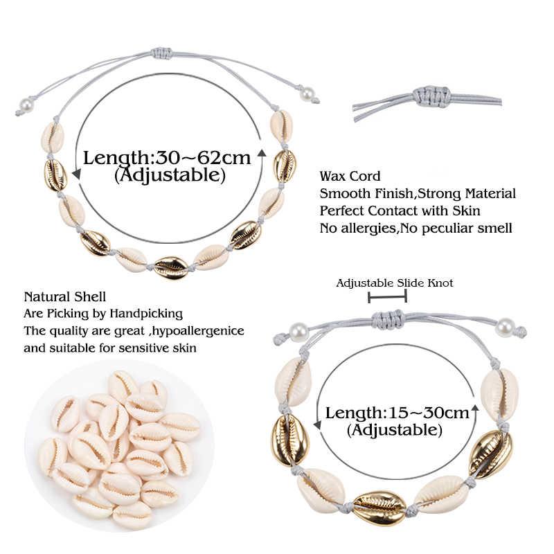 Alami Cowrie Shell Kalung Gelang Set BoHo Beach Kerang Kalung Kerah Fashion Tali Rantai Adjustable Wanita Musim Panas Perhiasan