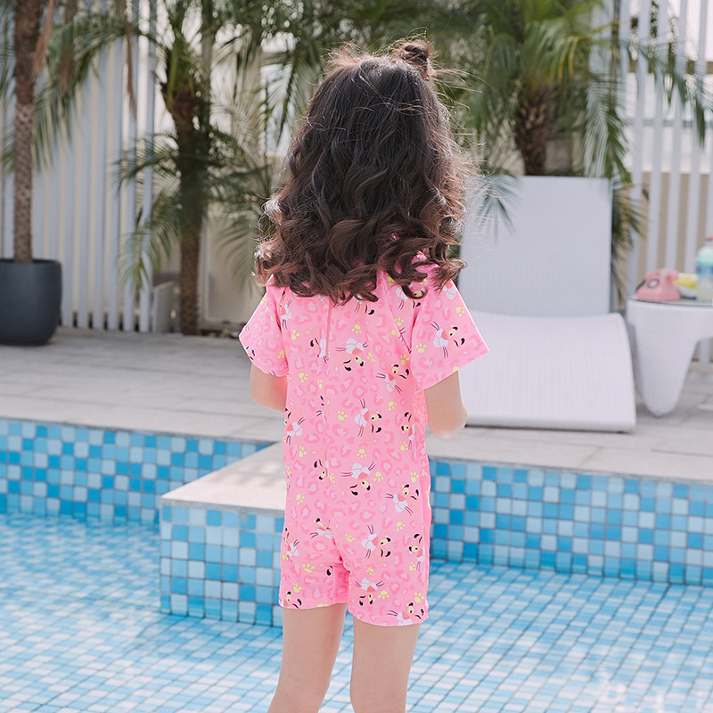 KID'S Swimwear Girls Trend Cute Cartoon Pink Naughty Panther Children Baby Girls One-piece CHILDREN'S Swimsuit