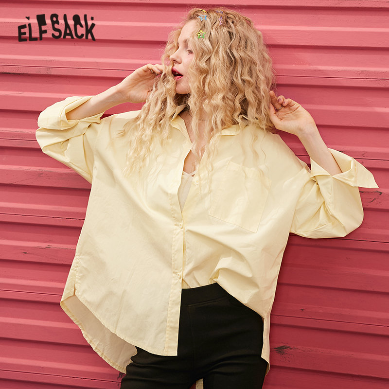 ELFSACK Multicolor Solid Minimalist High Low Casual Shirts Women 2020 Spring Pure Split Long Sleeve Korean Ladies Basic Tops