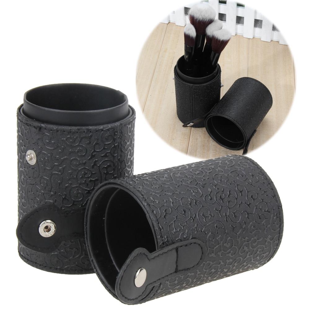 Fashion PU Leather Travel Cosmetic Brushes Pen Empty Case Storage Makeup Brush Bags Organizer Tube Holder Make Up Tools