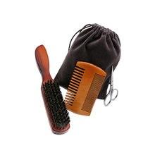 Scissor Brush Shaving-Set Beard-Comb Moustache Trimmer Storage-Bag Groomer Portable Men
