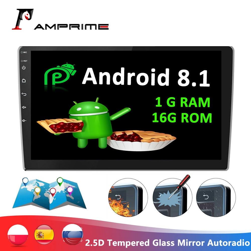 AMPrime Android двойной Din gps автомобильный стерео радио 9 ''2.5D Закаленное стекло зеркало Авторадио MP5 плеер wifi gps FM радио приемник