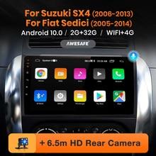Awesafe px9 para suzuki sx4 2006 - 2013 fiat sedici rádio do carro reprodutor de vídeo multimídia navegação gps dvd android 10 nenhum 2 din 2din