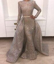 Elegante 2019 muçulmano vestidos de noite sereia gola alta mangas compridas rendas dubai arábia saudita longo vestido de noite baile