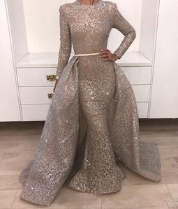 Image 1 - Thanh Lịch 2019 Theo Hồi Giáo Váy Đầm Dạ Nàng Tiên Cá Cổ Cao Tay Dài Ren Dubai Ả Rập Saudi Ả Rập Dài Dạ Hội Promise