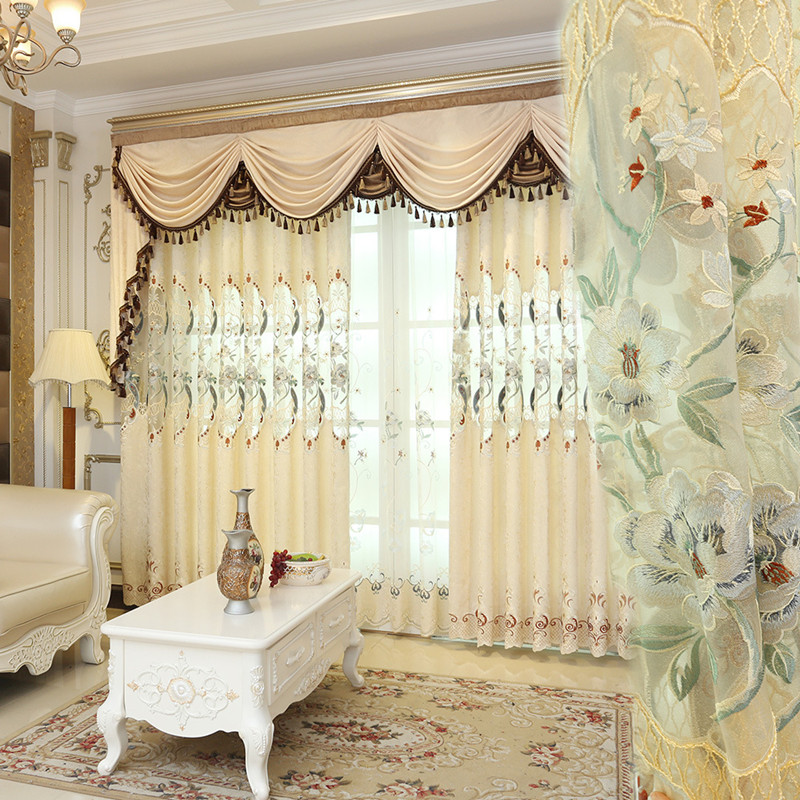 European Luxury Royal Beige Floral Curtains For Living Room High Quality Embroidered Tulle Curtains For Bedroom Kitchen Hotel