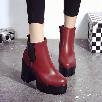 High Quality 2020 New Winter Boots Women Ankle Boots Zip Round Toe Footwear High Heels Female Boots Party Shoes Women Pumps