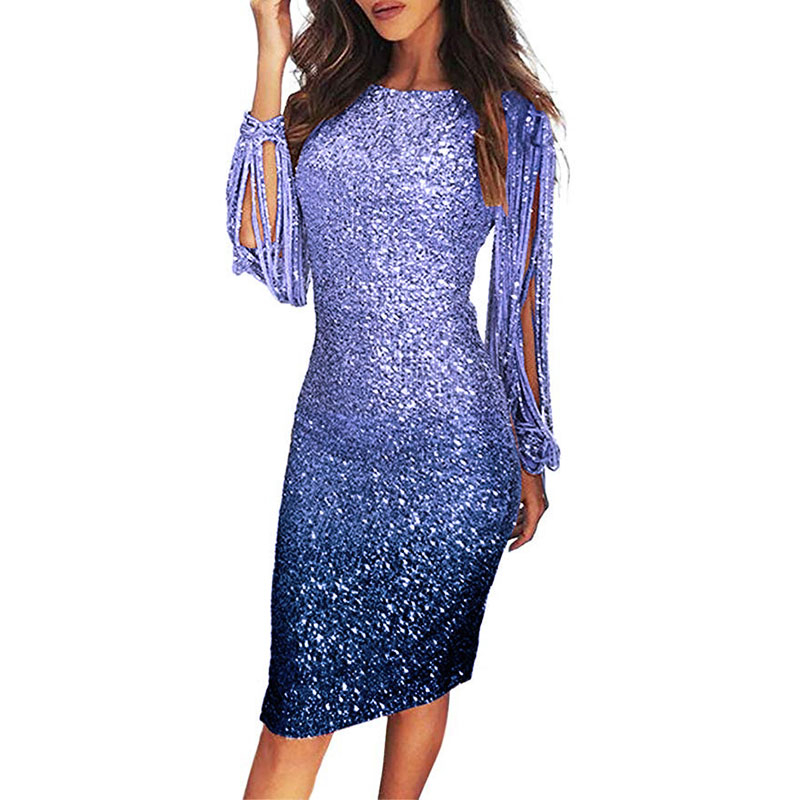 Women's Dress Glitter Dress Slim Bodycon Dresses For Women Long Sleeve Clothes Sequin Evening Party Tassels Midi Dresses 3