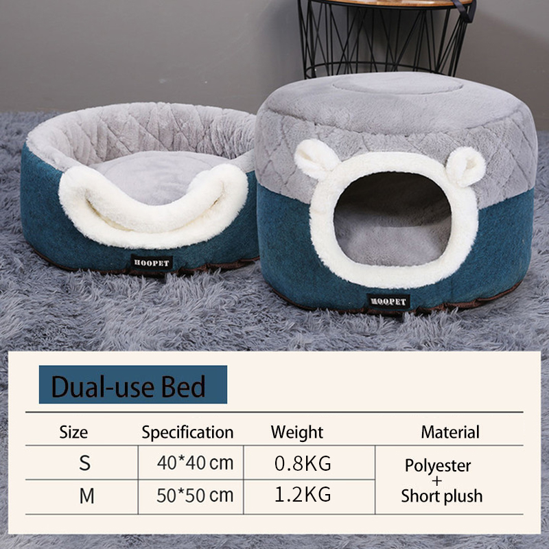 HOOPET-Cat-Bed-House-Soft-Plush-Kennel-Puppy-Cushion-Small-Dogs-Cats-Nest-Winter-Warm-Sleeping