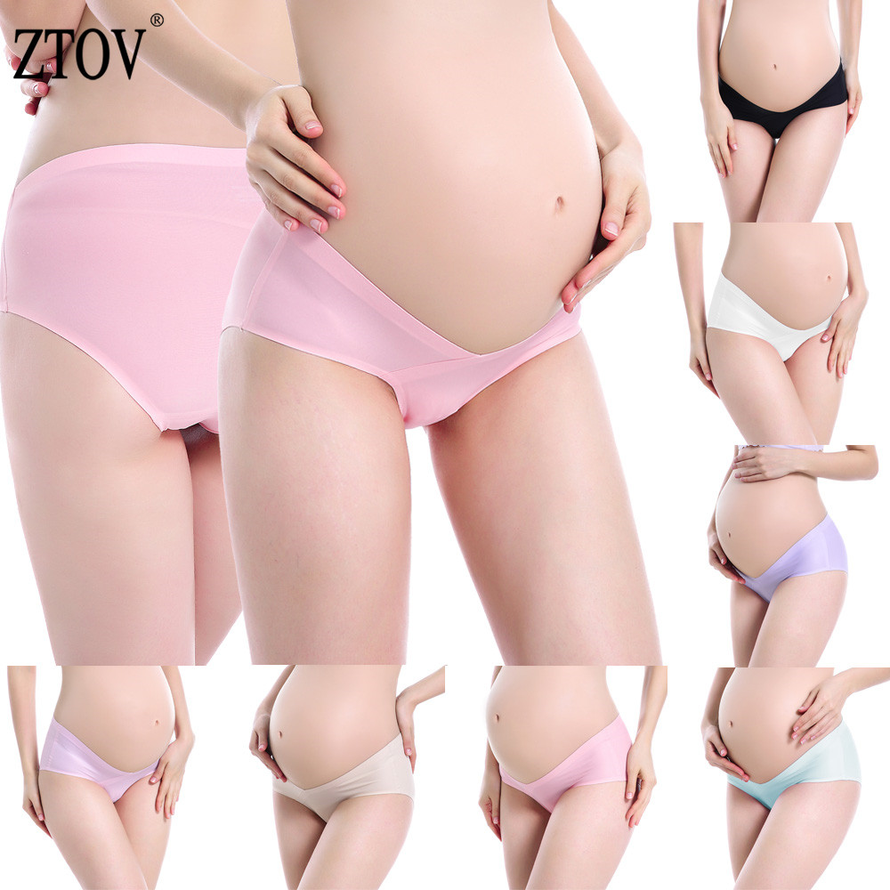 1 Pcs Ice Silk Maternity Underwear V-shaped Panties Belly Support Panty Seamless Pregnancy Clothes Maternity Intimates Panties