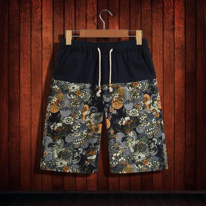 2020 männer Druck Elastische Taille Kordelzug Casual Shorts Baumwolle Leinen Hohe Qualität Chinesischen Stil Strand Kurze Hosen Sommer Lose
