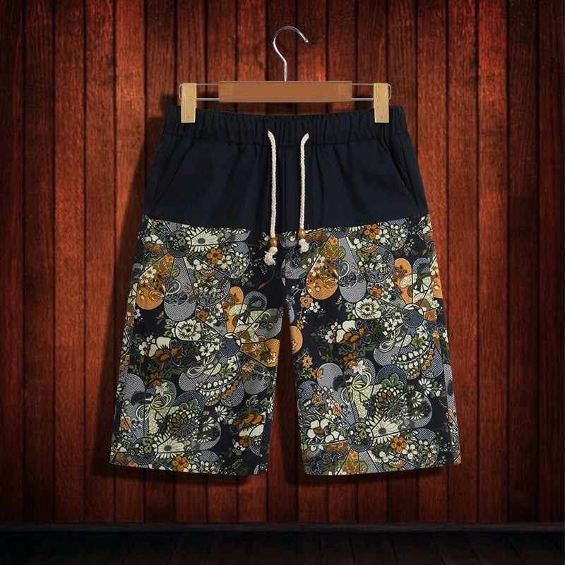 2020 男性印刷弾性ウエスト巾着カジュアルショーツ綿リネン高品質中国スタイルビーチショートパンツ夏緩い