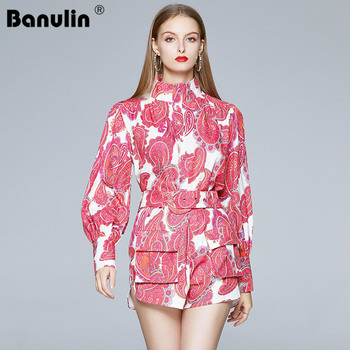Banulin Summer Runway Two Pieces Short Suit High Quality Fashion Designer Vintage Print Lantern Sleeve Shirt+Casual Shorts Set