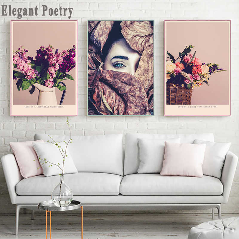 Nordic Beauty Posters And Prints Nostalgic Flowers Wall Art Canvas Painting Girl Picture For Living Room Scandinavian Home Decor