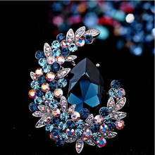 CZ Crystal Pin Flower Rhinestone Luxury Jewelry Brooches & Pins For Women Fashion Broches Mujer CH19BRO804