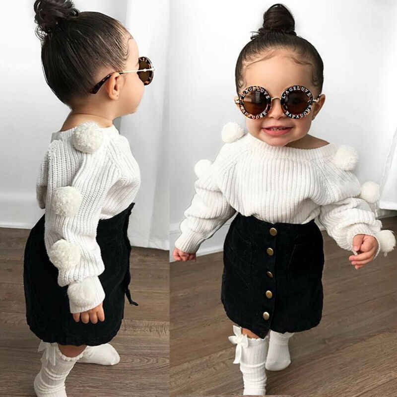 Casual Toddler Baby Girls Hairball Knit Tops+Button Mini Skirt Warm Outfit Set