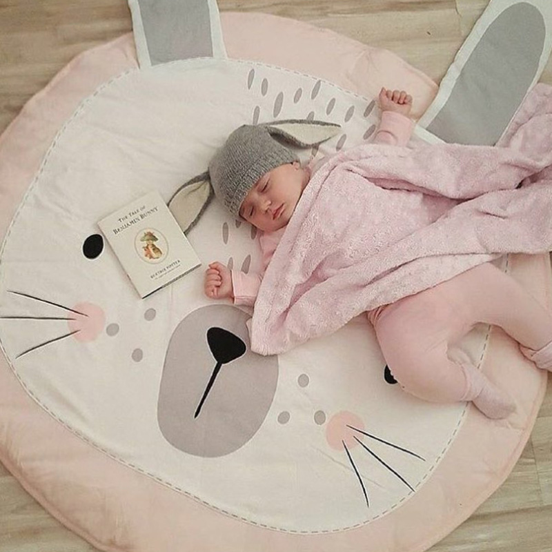 H075cd122ac944ef99911426b041d4e546 Play Mat Baby Crawling Blanket Floor Carpet for Kids Room Mats Soft Cotton Padded Playmat Round Rugs Newborn Girl Boy Birth Gift