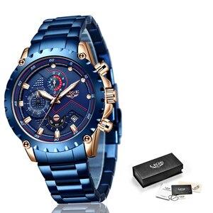 Image 5 - LIGE relojes de acero inoxidable azul para hombre, de cuarzo, resistente al agua, con esfera de fecha, cronógrafo deportivo, 2020