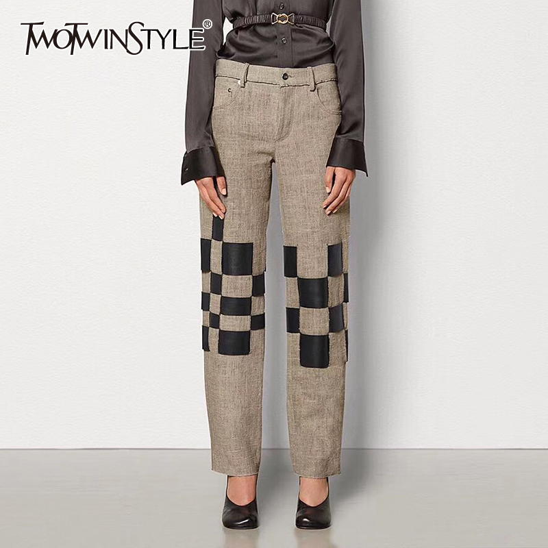 TWOTWINSTYLE Patchwork Hit Color Women' Pants High Waist Pocket Straight Trousers Female 2019 Autumn Large Size Fashion New