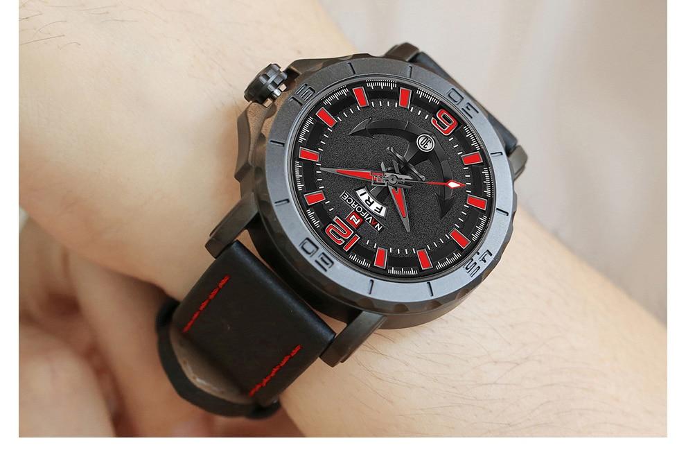 H075cf8a3e2de4c6ba7ba57b415d490bd9 Top Luxury Brand NAVIFORCE Mens Sport Watches Casual Leather Strap Waterproof Military Quartz WristWatch Clock Male Reloj Hombre